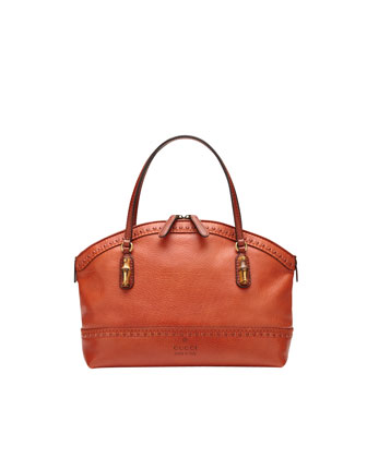 Laid-Back Crafty Leather Top-Handle Bag, New Rust