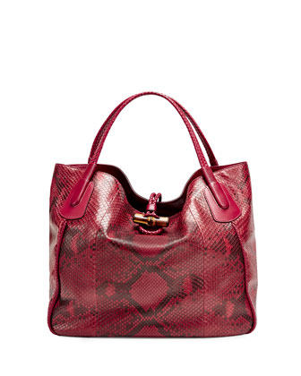 Hip Bamboo Extra Large Python Tote Bag, Raspberry
