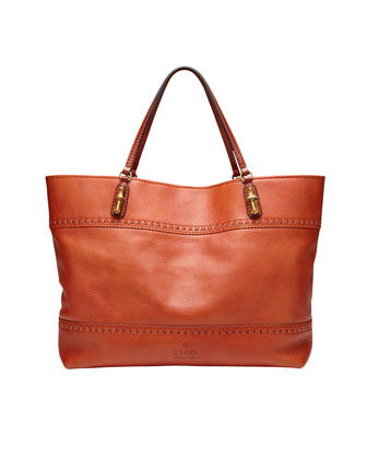 Laidback Crafty Leather Tote Bag, New Rust