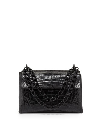 Crocodile Small Flap Shoulder Bag, Black