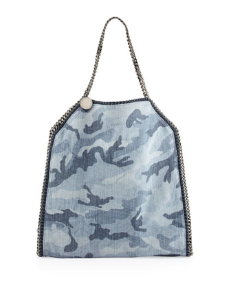 Falabella Camo-Print Big Tote Bag, Pale Blue