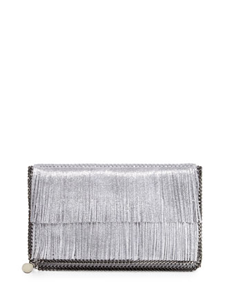 Falabella Fold-Over Fringe Clutch Bag, Silver