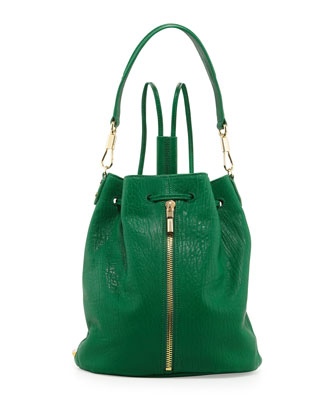 Cynnie Leather Drawstring Backpack, Leaf Green