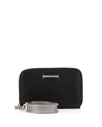 Lizard-Embossed Smart Phone Wristlet, Black