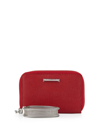 Lizard-Embossed Smart Phone Wristlet, Red Joy