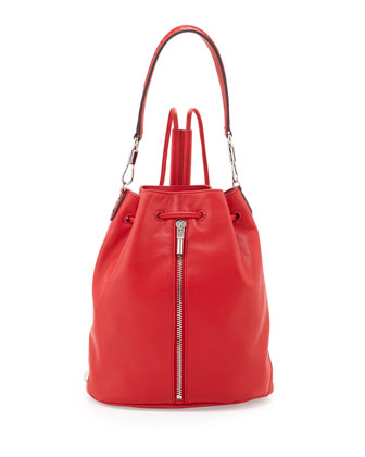 Cynnie Leather Drawstring Backpack, Red Joy