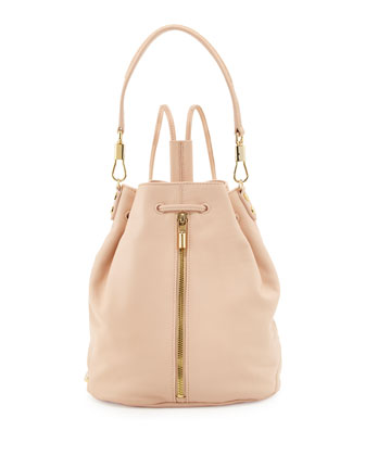 Cynnie Leather Drawstring Backpack, Champagne
