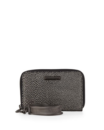 Metallic Pebbled Wristlet, Gunmetal