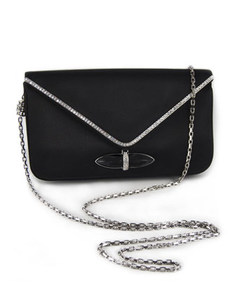 Whitney Satin Clutch Bag, Black