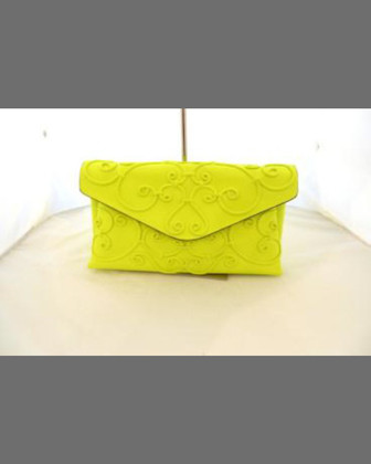 Intricate Large Scroll Envelope Clutch Bag, Fuchsia Fluo