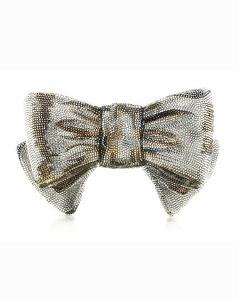 Crystal Bow Clutch Bag, Champagne