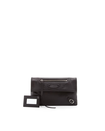 Classic Envelope Clutch Bag, Noir