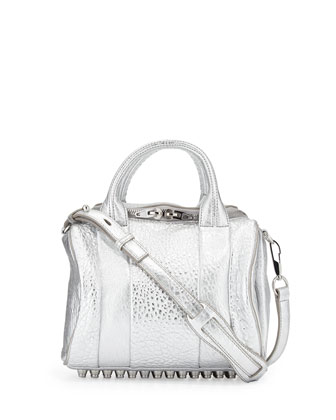 Rockie Small Crossbody Satchel Bag, Silver