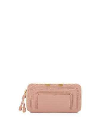 Marcie Leather Zip Wallet, Anemone Pink