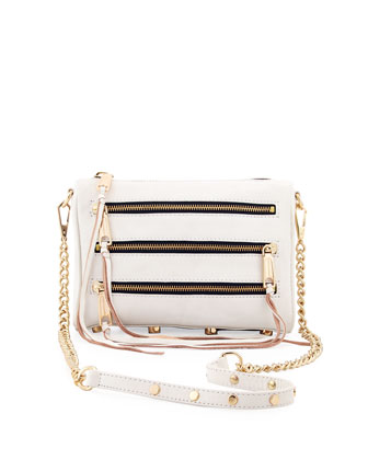 Five-Zip Mini Crossbody Bag, White