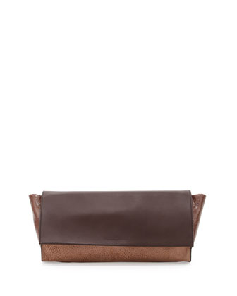Distressed Colorblock Clutch Bag, Chocolate