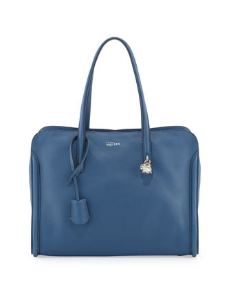 New Skull Padlock Zip-Around Tote Bag, Cadet Blue