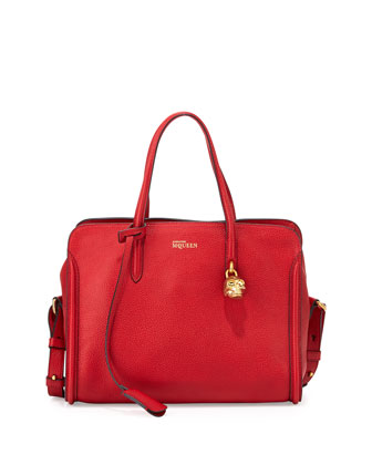 Small Padlock Zip-Around Tote Bag, Red