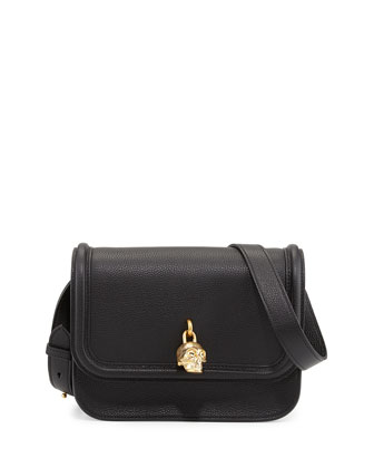 Skull Padlock Flap-Top Shoulder Bag, Black