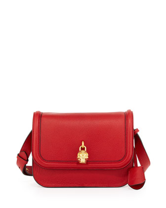 Leather Padlock Shoulder Bag, Red/Gold