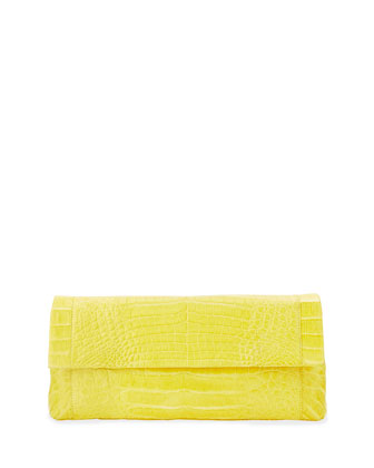 Soft Flap Crocodile Medium Clutch Bag, Yellow