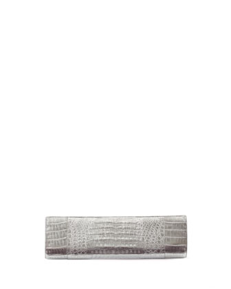 Slicer Crocodile Clutch Bag, Silver