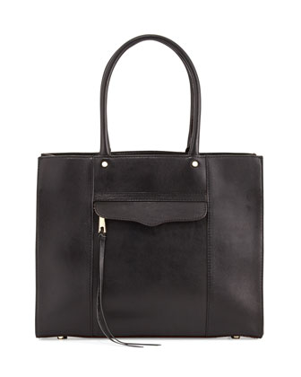 MAB Medium Leather Tote Bag, Black