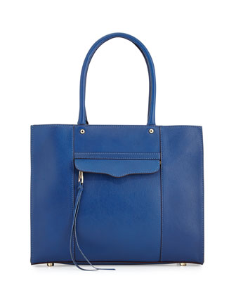 MAB Medium Leather Tote Bag, Electric Blue
