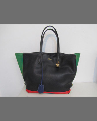 Colorblock Small Padlock Zip-Around Tote Bag