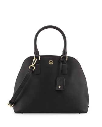 Robinson Saffiano Open-Top Dome Satchel Bag, Black
