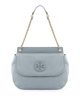 Marion Leather Saddle Bag, Powder Blue