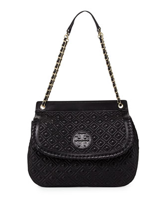Marion Quilted Leather Saddle Bag, Black