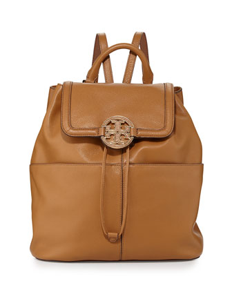 Amanda Medium Leather Backpack, Royal Tan