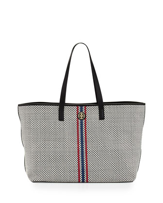 Jane Woven Leather Tote Bag, Black Multi