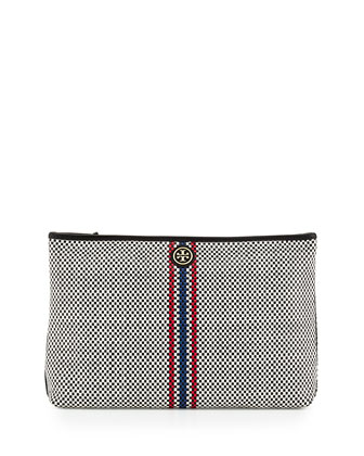 Jane Woven Leather Clutch Bag, Black Multi