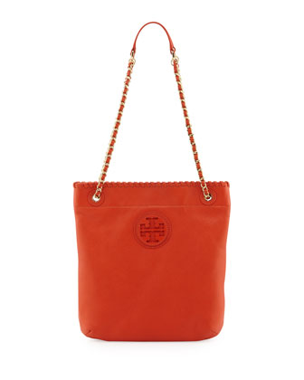 Marion Leather Book Bag, Equestrian Orange