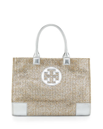 Ella Metallic Straw Tote Bag, Natural/Silver