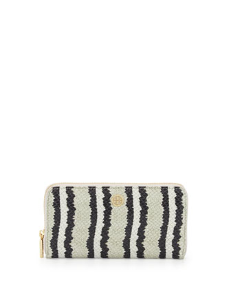 Snake-Print Continental Zip Wallet, Ivory/Black