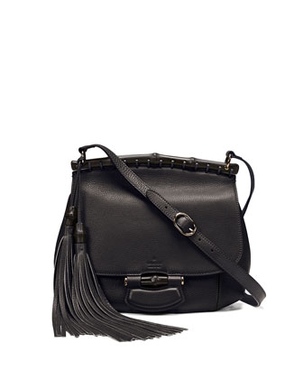 Nouveau Medium Leather Crossbody Bag, Nero