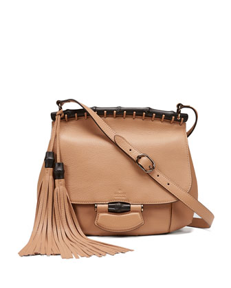 Nouveau Medium Leather Crossbody Bag, Camel