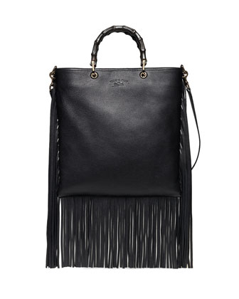 Nouveau Bamboo Leather Fringe Tote Bag, Nero