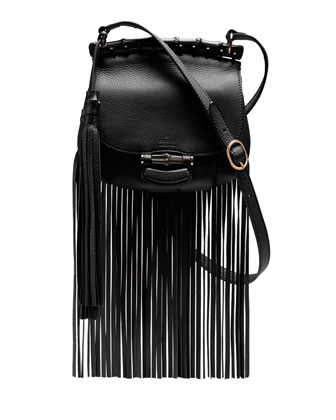 Nouveau Small Leather Crossbody Bag, Nero