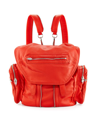 Marti Convertible Lambskin Backpack, Cola Red