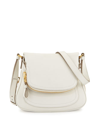 Jennifer Small Calfskin Crossbody Bag, Chalk