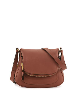Jennifer Small Calfskin Crossbody Bag, Pink