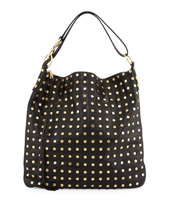 Milo Studded Leather Hobo Bag, Black