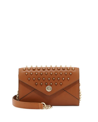Mini Spiked Wallet-on-a-Chain Bag, Almond