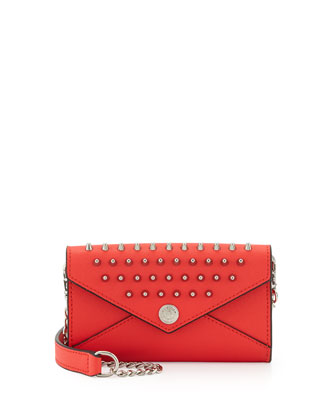 Mini Spiked Wallet-on-a-Chain Bag, Hot Red