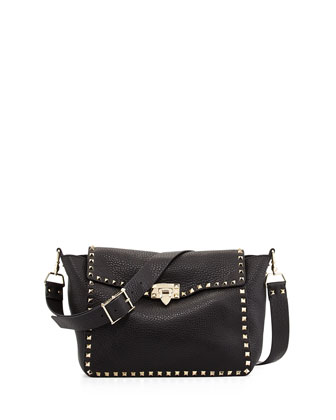 Rockstud Flap Crossbody Bag, Nero