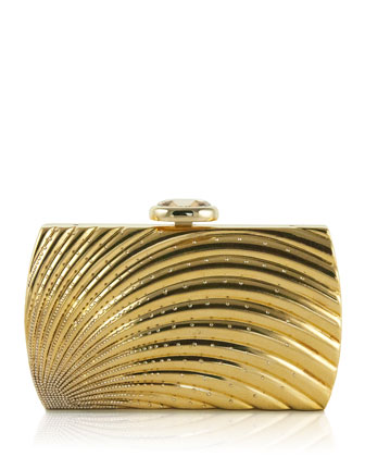 Ridged Arc Brass Clutch Bag, Champagne